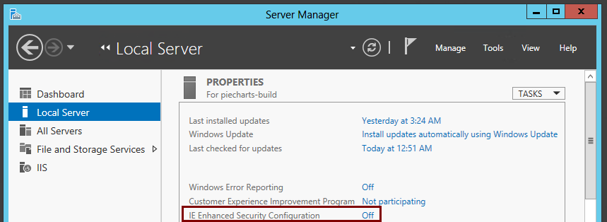 Turn off IE Enhanced Security Configuration in Server Manager