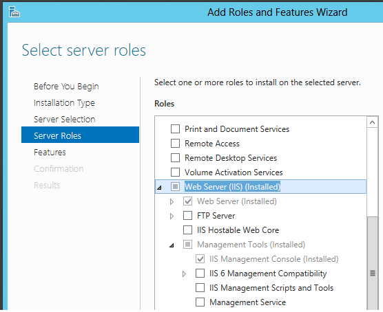 Add Roles and Features Wizard - Select IIS and IIS Management Console.