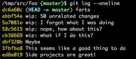 example git log filled with inane wip commit messages