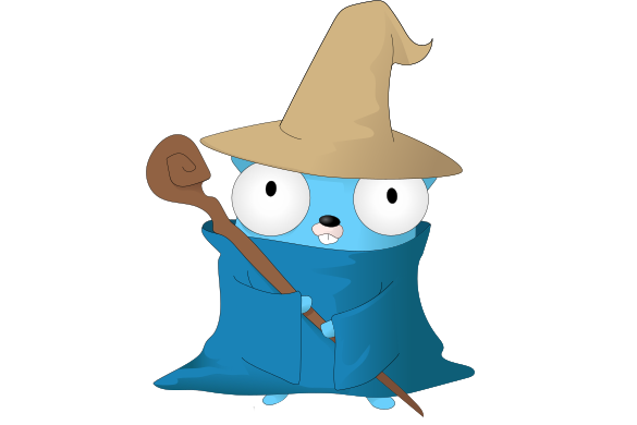Gopher in a wizard hat and robe, with a staff. The mage logo.